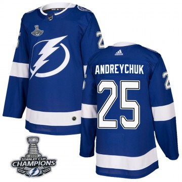 Authentic Adidas Youth Dave Andreychuk Tampa Bay Lightning Home 2020 Stanley Cup Champions Jersey - Blue