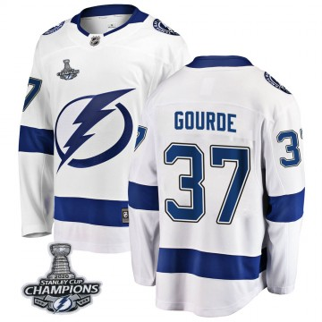 Breakaway Fanatics Branded Youth Yanni Gourde Tampa Bay Lightning Away 2020 Stanley Cup Champions Jersey - White